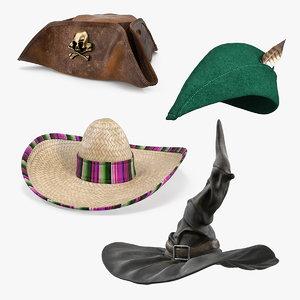 3D costume hats 2 model