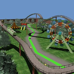 amusement park carousel ferris wheel 3D