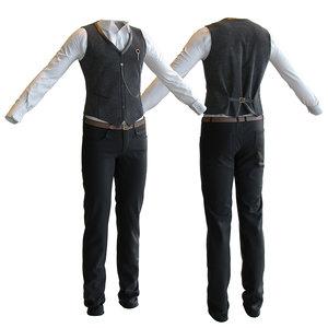 men s classic suit 3D model