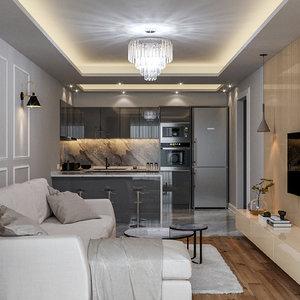 living room kitchen scene 3D model