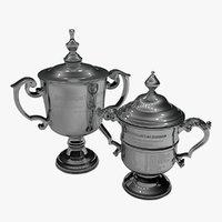 US Open Women and Men 2020 singles trophies L925