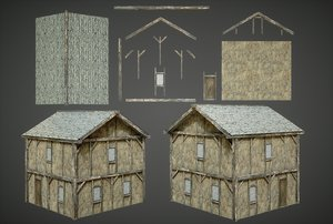 3D medieval house modular structure model