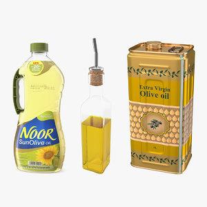 3D olive oil bottles 2 model