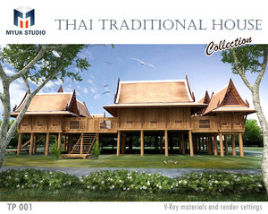 thai traditional house 3D model
