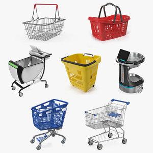 shopping baskets trolley 3 3D model