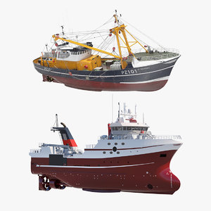 trawler fishing vessels trawls 3D model