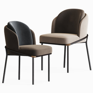 3D model fil noir dining chair