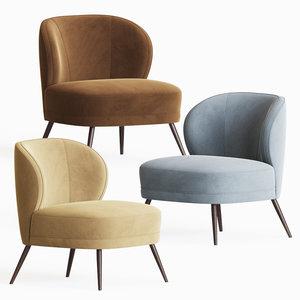 kitts chair flax linen 3D model