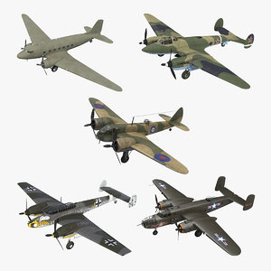 vintage military bombers 3D