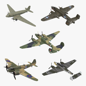 3D model vintage military bombers rigged