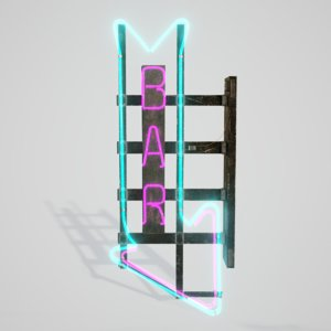 neon bar sign 3D model