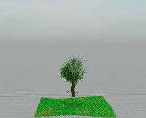 3D tree grassy lawn