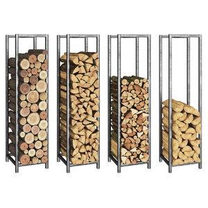 logs fireplace 3D