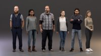 rigged People SixPack 003 - Photogrammetry Population Character Rig