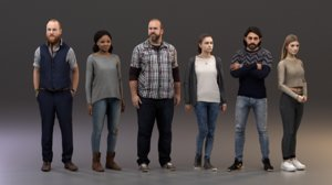 3D rigged - characters animate crowd