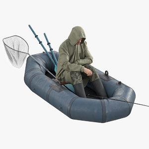 3D model boat fishing rod