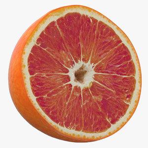 3D red orange half cut model