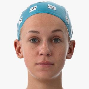 3D rhea human head brow