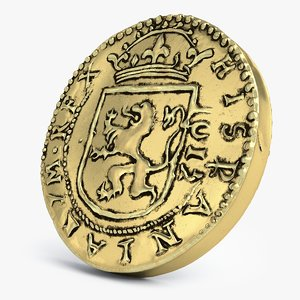 3D old spanish coin