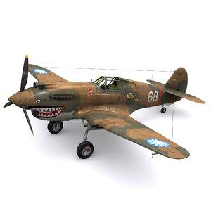 3D curtiss p-40b 1st avg