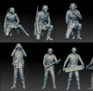 3D german soldiers