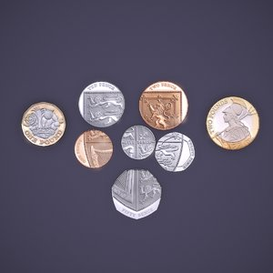 uk coin 3D model