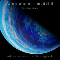 Alien planet model 5 - 16k photorealistic - cold gas giant