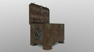 3D pbr antique chest safe model