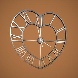 brushed steel heart clock 3D model