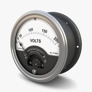 3D vintage panel voltmeter