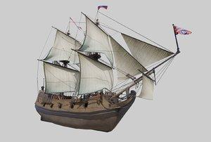 3D model vitus bering ship st peter