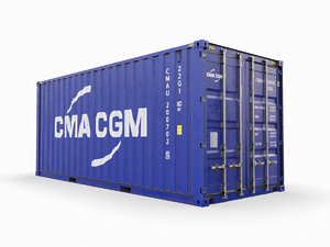shipping container cma-cgm 20 feet 3D