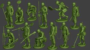 3D american soldier ww2 engineer model