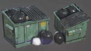 3D garbage dumpster model