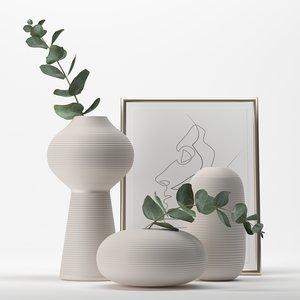 bouquet eucalyptus white jar 3D model