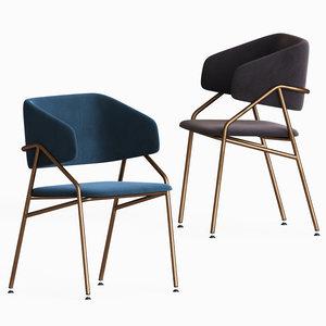 ebony royal dining armchairs 3D model