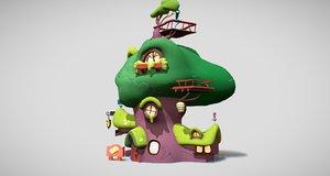 3D cartoon mushroom tree house