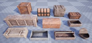 3D model medieval chests crates