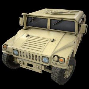 3D car military police dust