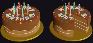 cartoon birthday cake sliced 3D model