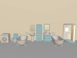 3D model cartoon bathroom