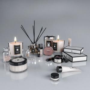 decorative set cosmetics 3D model