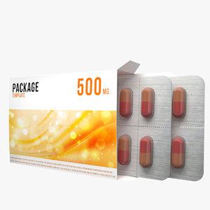3D box pills model