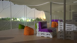 3D african tent events model