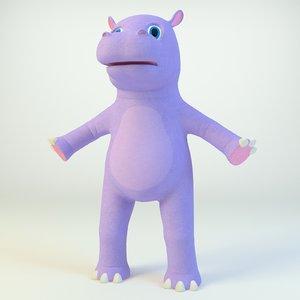 animal hippo hippopotamus 3D model