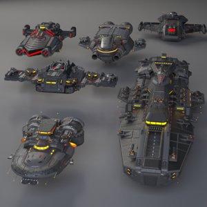 3D warships ships