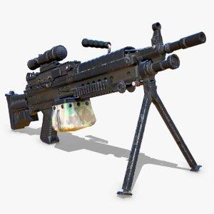 3D m249 machine gun model