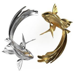 3D yin yang fish