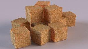 sugar cube candy food 3D model