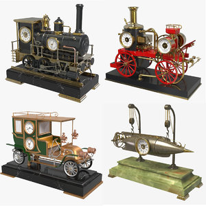 3D automaton industrial clocks model